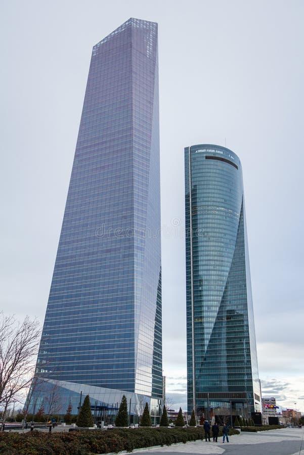 Cuatro Torres Business Area (CTBA) building skyscrapers, in Madrid, Spain stock photo