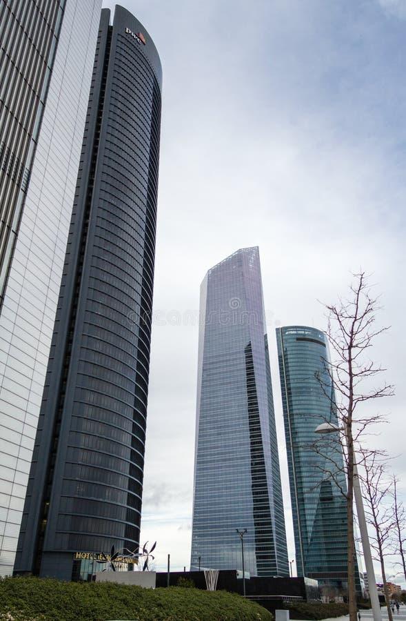 Cuatro Torres Business Area (CTBA) building skyscrapers, in Madrid, Spain stock photos