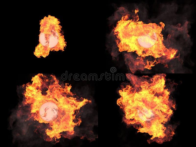 Cuatro versiones Esfera en fuego foto de archivo