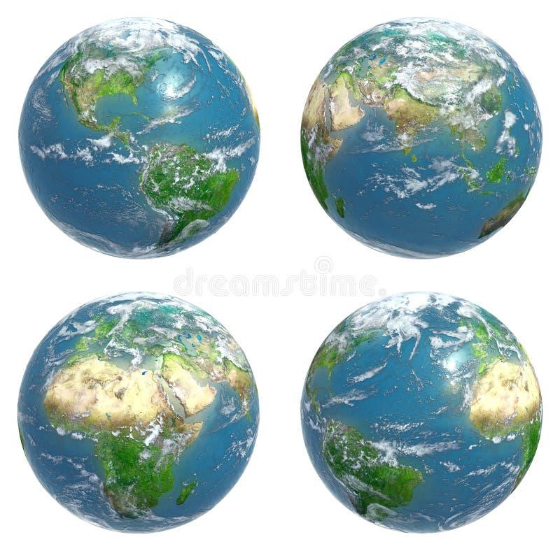 Cuatro vistas de la tierra stock de ilustración