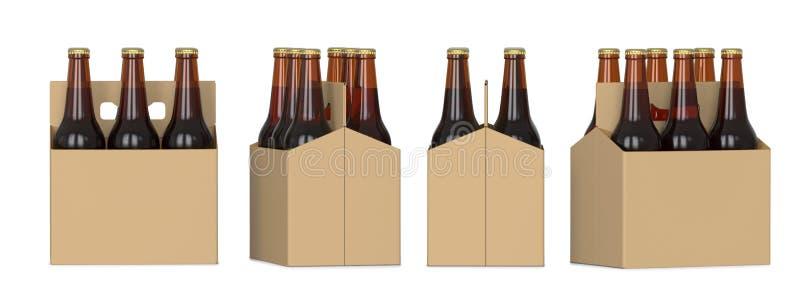 Cuatro vistas del paquete de seis de botellas de cerveza marrones en caja de cartón 3D rinden, aislado en el fondo blanco stock de ilustración
