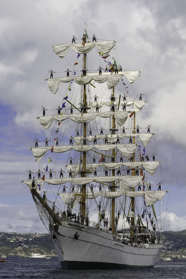 Cuauhtemoc. From Mexico, arrival Bergen harbour during the Tall Ships' Races stock photo