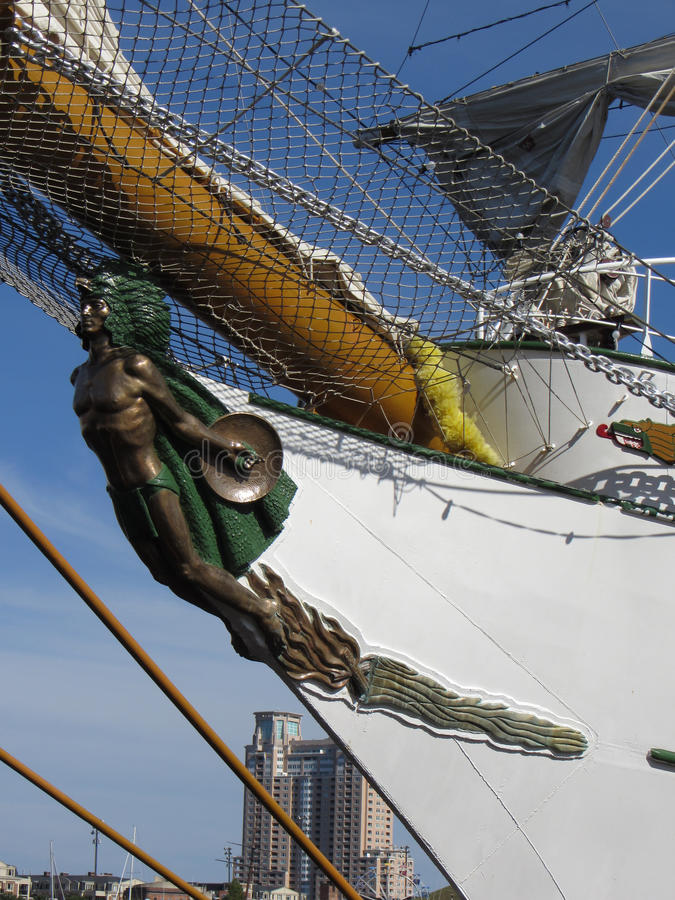 Cuauhtemoc Figurine. Photo of a tall mast ship figurine in baltimore maryland on 6/13/12 for the bicentennial sailabration event. This ship is the cuauhtemoc royalty free stock images