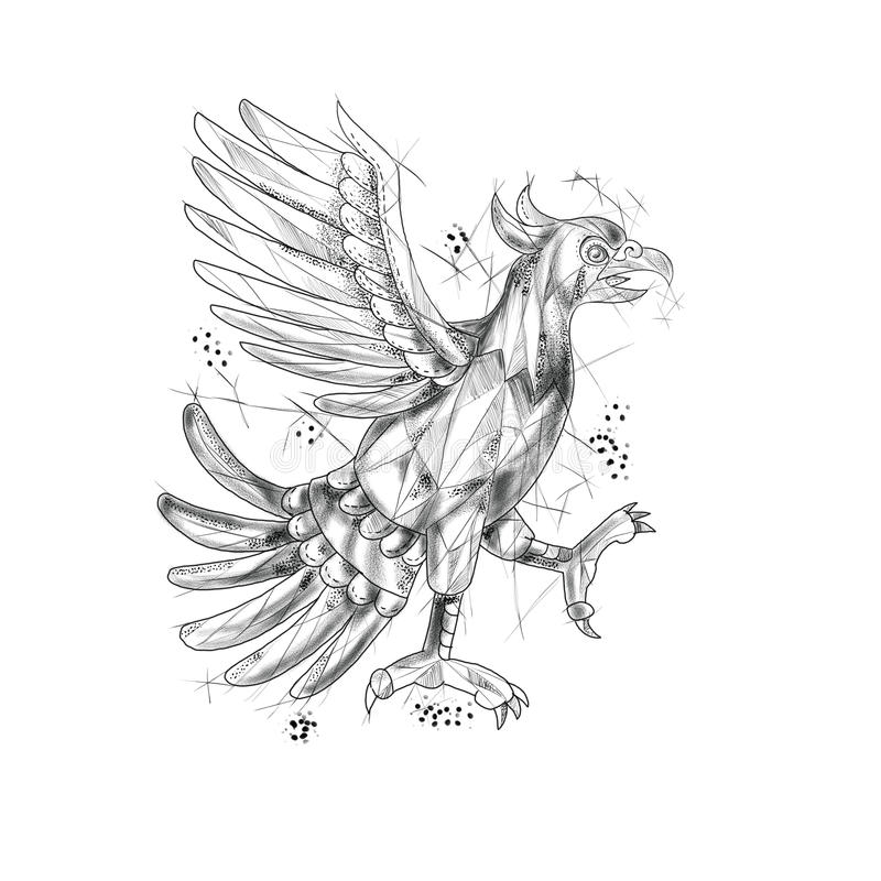 Cuauhtli Glifo Eagle Fighting Stance Tattoo vector illustratie