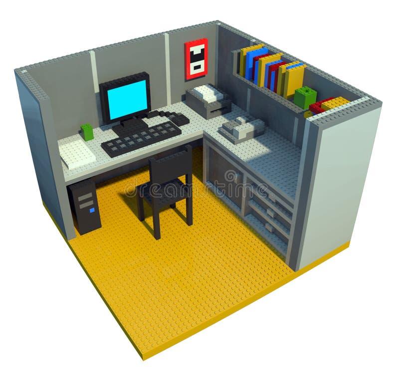 Cubículo de la oficina hecho de bloques del juguete ilustración del vector