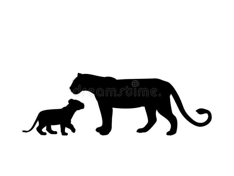 Cub λιονταρινών και λιονταριών αρπακτικό μαύρο ζώο σκιαγραφιών απεικόνιση αποθεμάτων