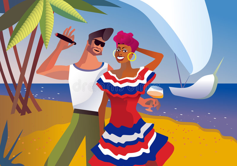 Cuba. Man and cuban woman relax. Vector illustration stock illustration