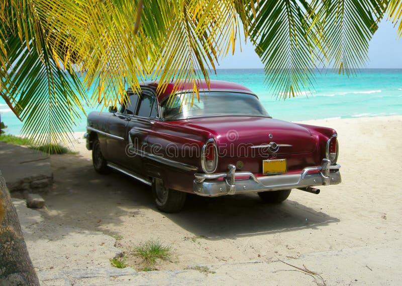 Cuba Beach Classic Auto und Palmen stockfotografie