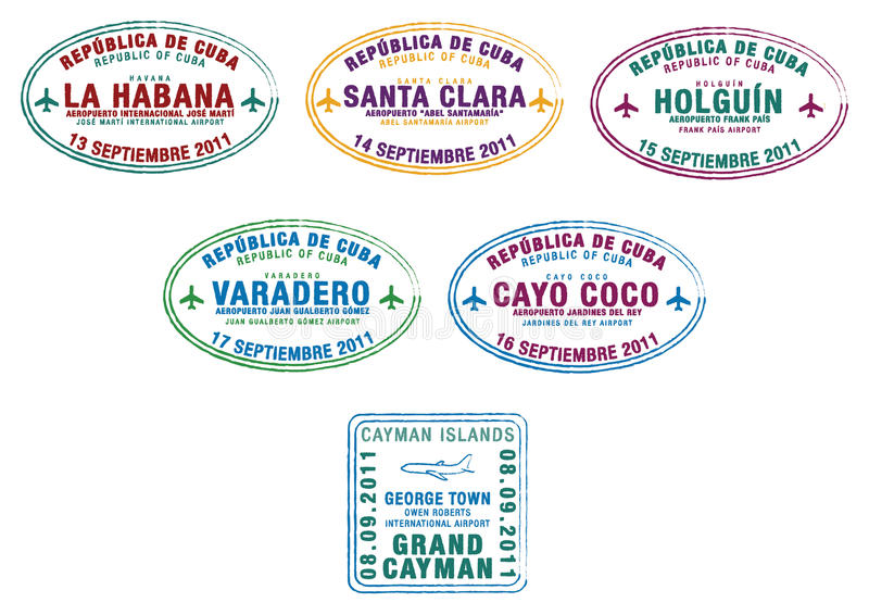 Cuba & Cayman Islands. Passport stamps from Cuba and the Cayman Islands in the Caribbean in format stock illustration