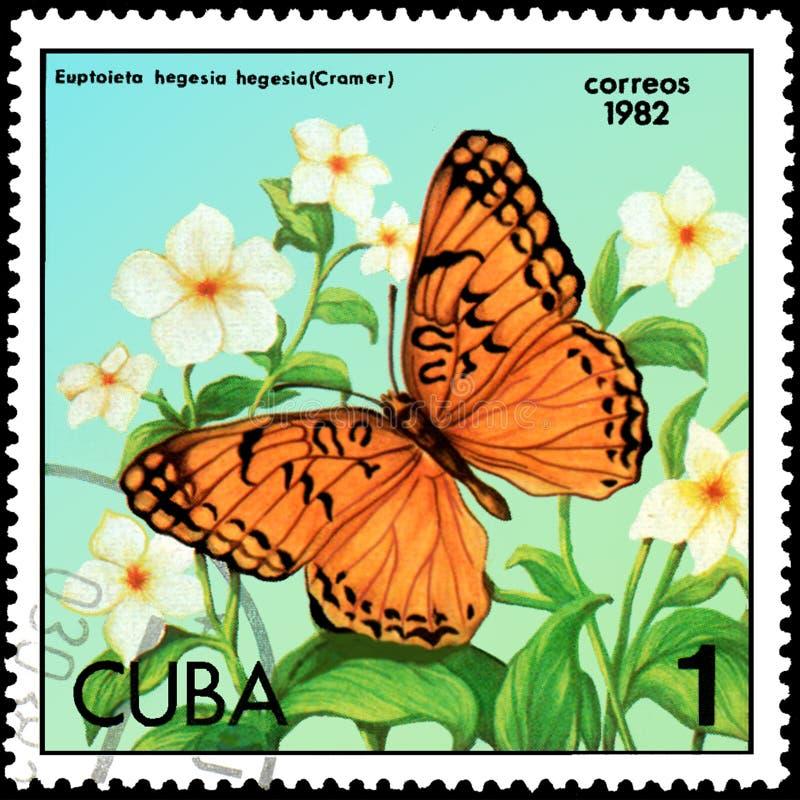 CUBA - CIRCA 1982: El sello impreso por Cuba muestra el hegesia de Euptoieta de la mariposa stock de ilustración