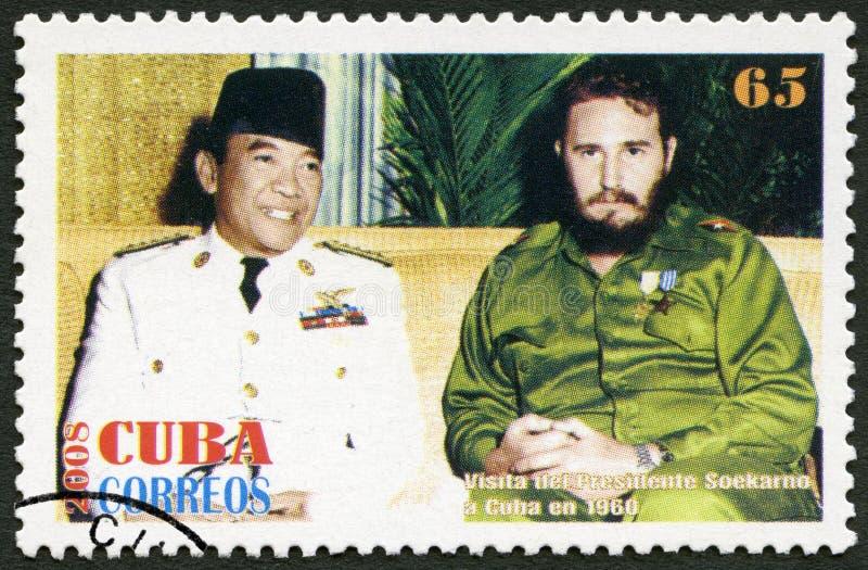 CUBA - 2008: shows commander Fidel Castro 1926-2016 and Sukarno 1901-1970 President of Indonesia, in 1960, Havana, Cuba stock photography