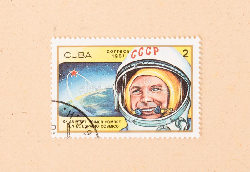 A stamp printed in Cuba shows the russian space program, circa 1981 royalty free stock photography