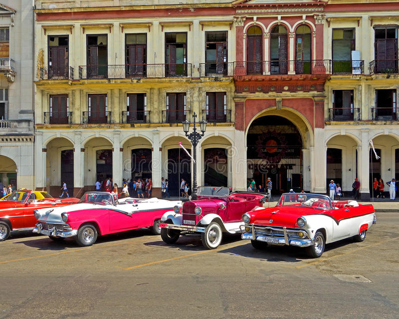 Cuba classics. Old classic cars in Havana, Cuba. For tourist rides. Like I did. Fun stock photography