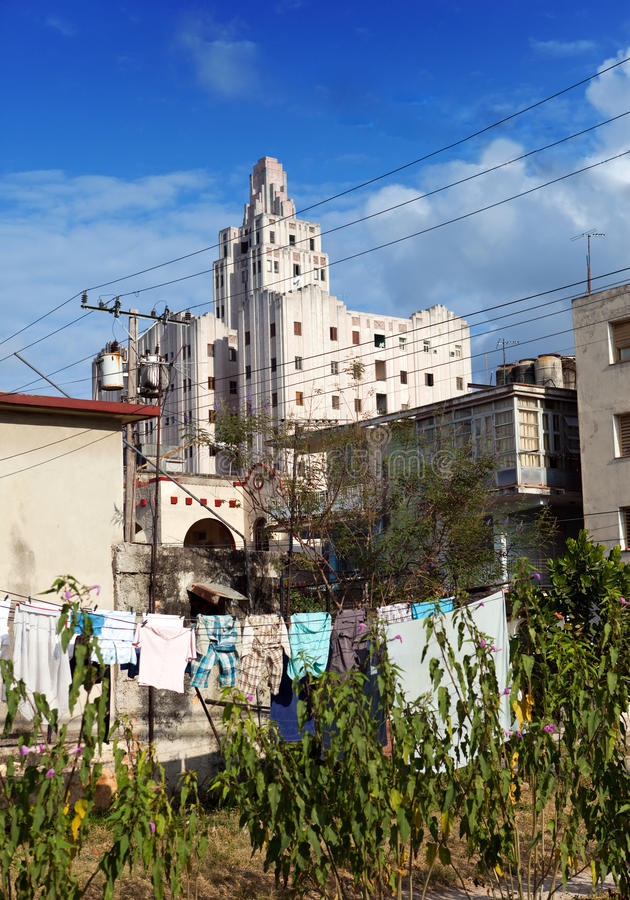 Download Cuba. Contrasts Of Old Havana - High-rise Buildings And Linen Drying In The Forefront In Yard Stock Photo - Image: 34727604
