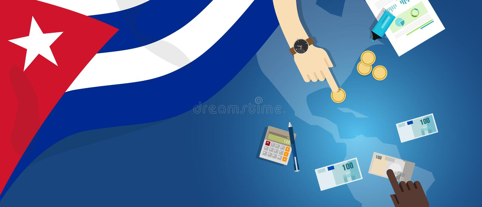 Cuba Cuban economy fiscal money trade concept illustration of financial banking budget with flag map and currency. Vector stock illustration