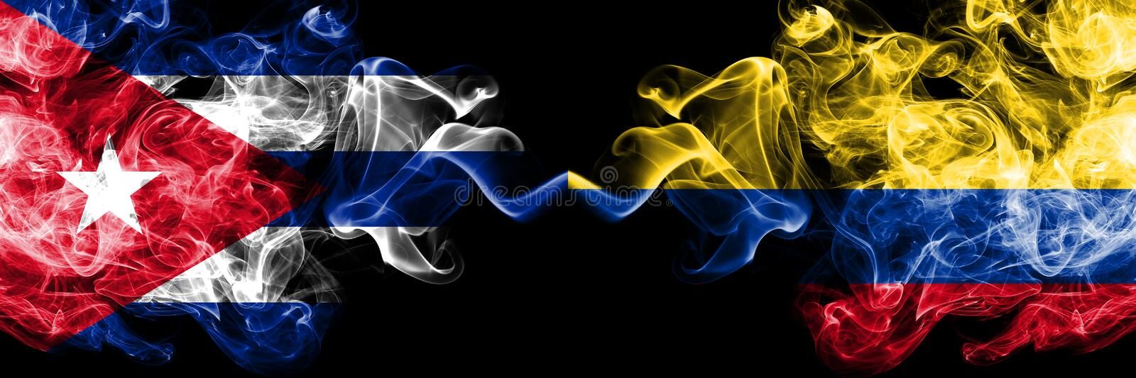 Cuba, Cuban vs Colombia, Colombian smoky mystic flags placed side by side. Thick colored silky travel abstract smokes banners.  vector illustration
