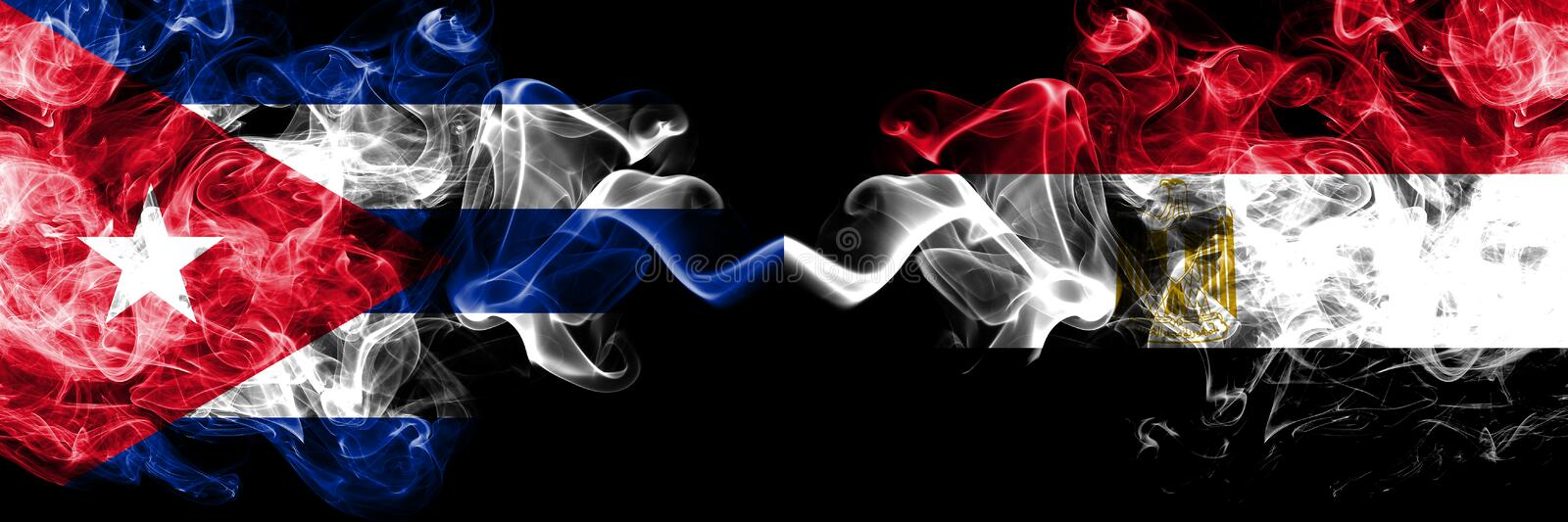 Cuba, Cuban vs Egypt, Egyptian smoky mystic flags placed side by side. Thick colored silky travel abstract smokes banners.  royalty free illustration