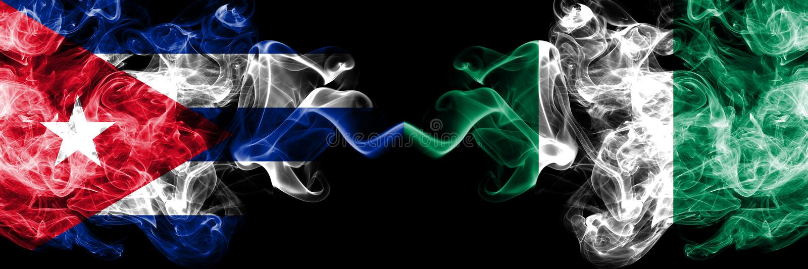 Cuba, Cuban vs Nigeria, Nigerian smoky mystic flags placed side by side. Thick colored silky travel abstract smokes banners. Cuba, Cuban vs Nigeria, Nigerian vector illustration