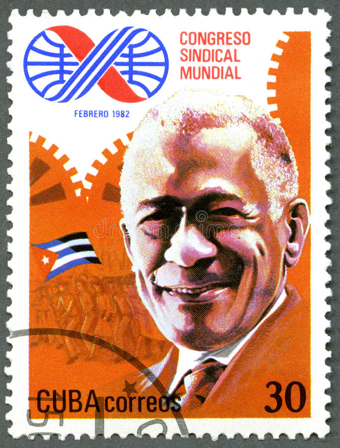 CUBA - 1982: dedicate the 10th World Trade Unions Congress, Havana, shows Lazaro Pena, delegate. CUBA - CIRCA 1982: A stamp printed in Cuba dedicate the 10th stock photo
