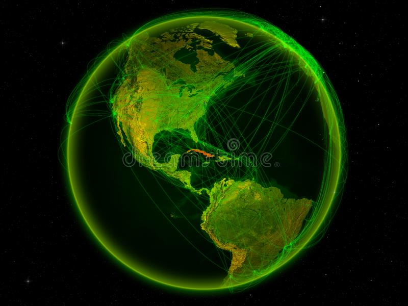 Cuba on Earth with network. Cuba from space on planet Earth with digital network representing international communication, technology and travel. 3D illustration royalty free illustration