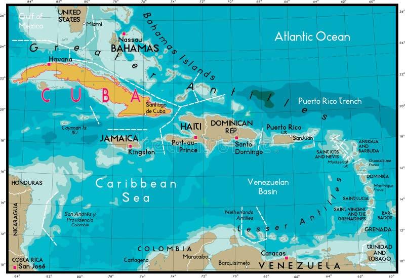Cuba en Caraïbische Zee. royalty-vrije illustratie
