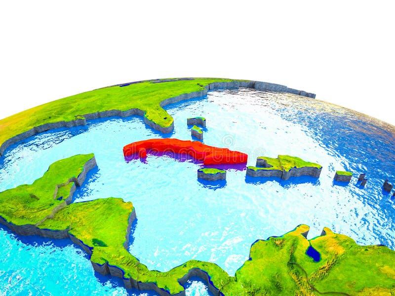 Cuba en la tierra 3D ilustración del vector