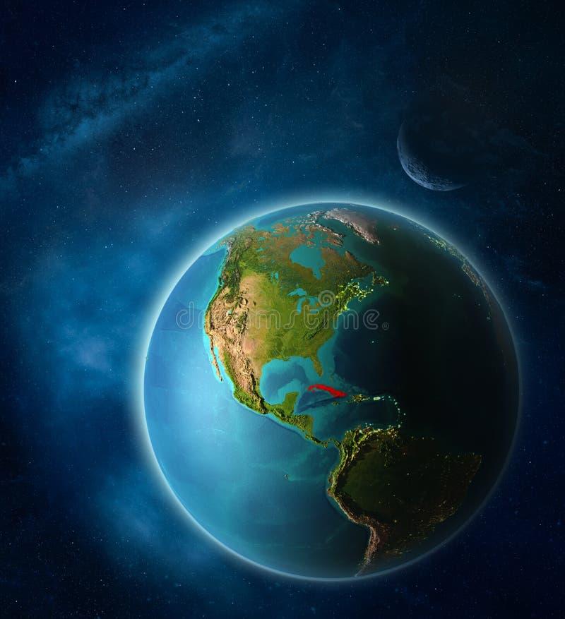 Cuba en la tierra del espacio stock de ilustración