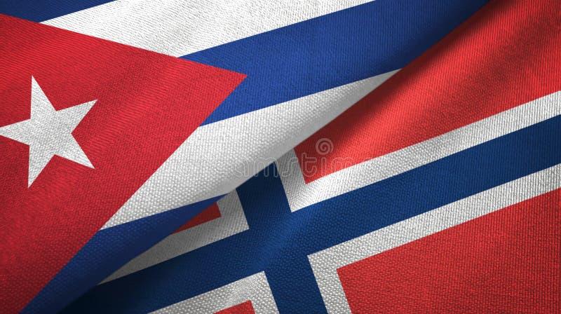 Cuba en Noorwegen twee vlaggen textieldoek, stoffentextuur vector illustratie