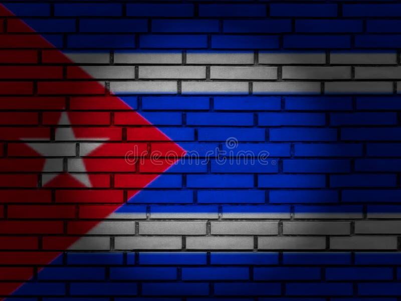 Cuba flag brick wall stock photo