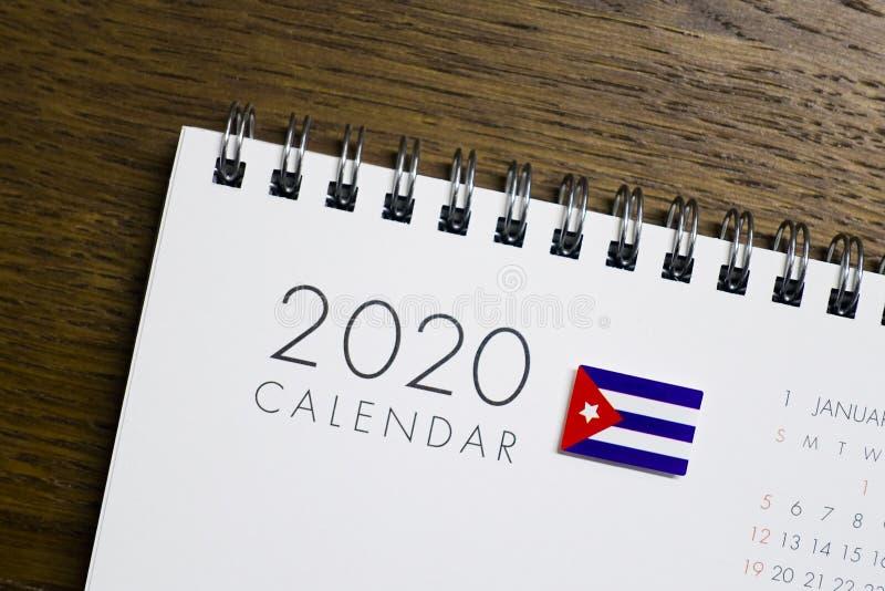 Cuba Flag on 2020 Calendar royalty free stock photography