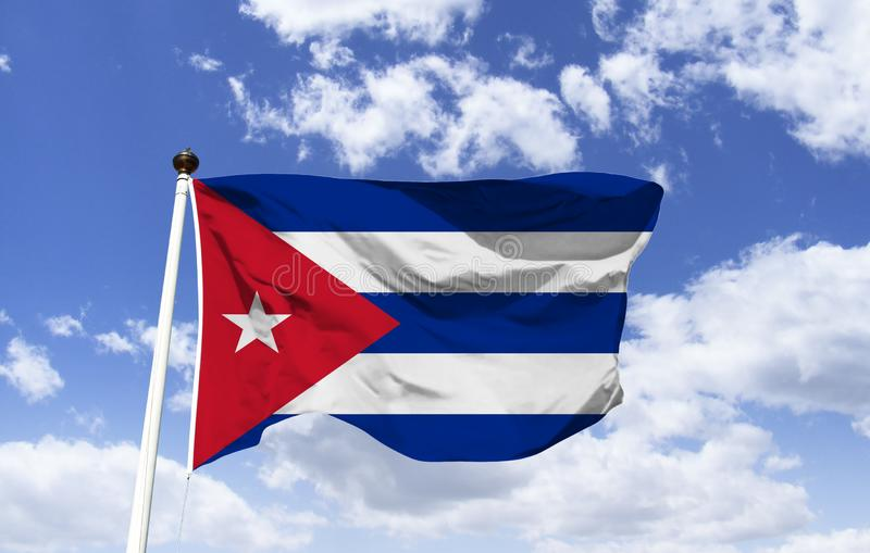 Cuba Flag Mockup fluttering under blue sky royalty free stock photos