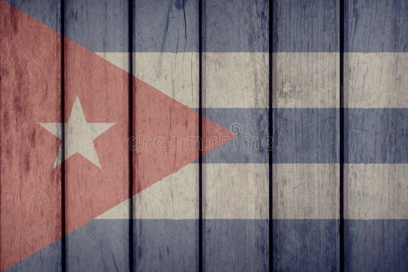 Cuba Flag Wooden Fence. Cuba Politics News Concept: Cuban Flag Wooden Fence royalty free illustration