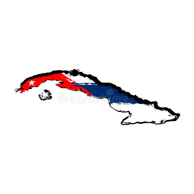 cuba flaggaöversikt stock illustrationer
