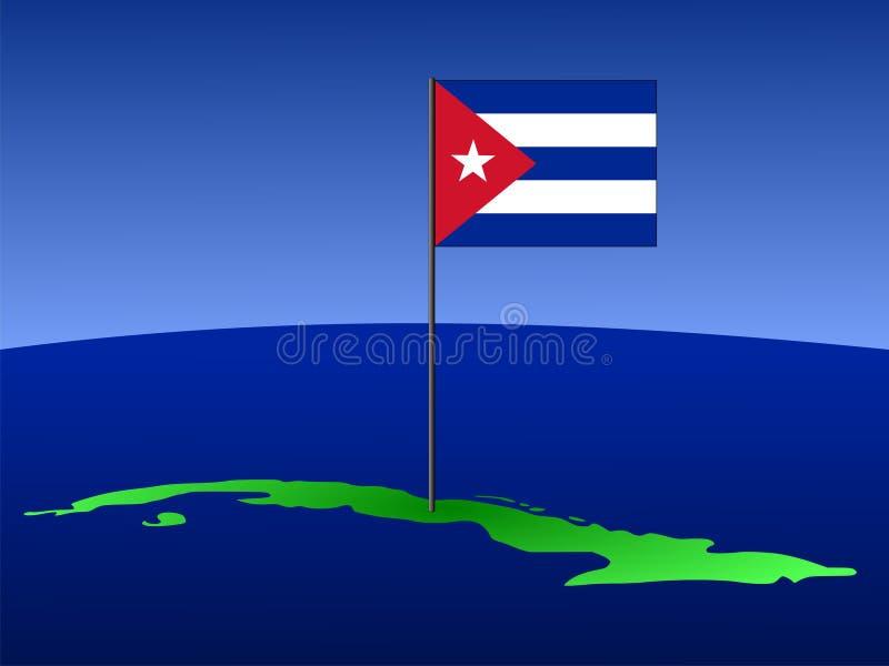 cuba flaggaöversikt royaltyfri illustrationer