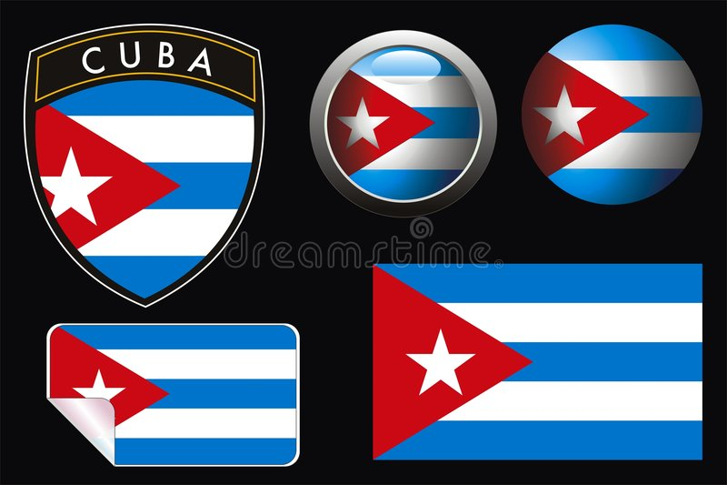 cuba flagga stock illustrationer