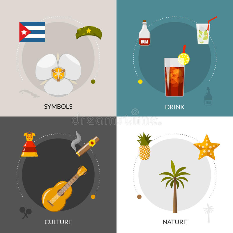 Cuba 4 Flat Icons Square Composition vector illustration