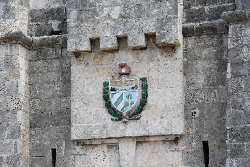Cuba, Habana, centrum van de oude stad, het oude wapenschild van Havana royalty-vrije stock foto's