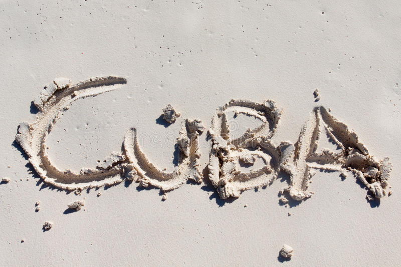 Download Cuba Handwritten On The White Sand Stock Photography - Image: 24471512