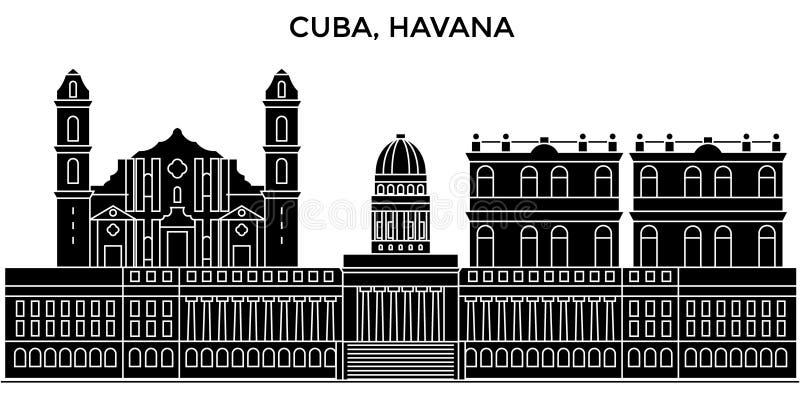 Cuba, Havana City-horizon van de architectuur de vectorstad, reiscityscape met oriëntatiepunten, gebouwen, isoleerde gezichten vector illustratie