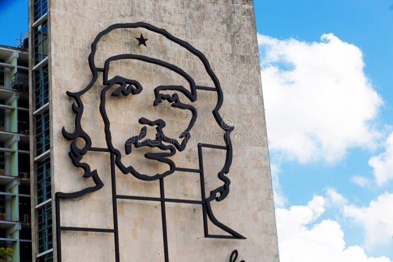 cuba Havana 8 2018 Luty - wizerunek Ð ¡ on Guevara na buildin zdjęcie royalty free