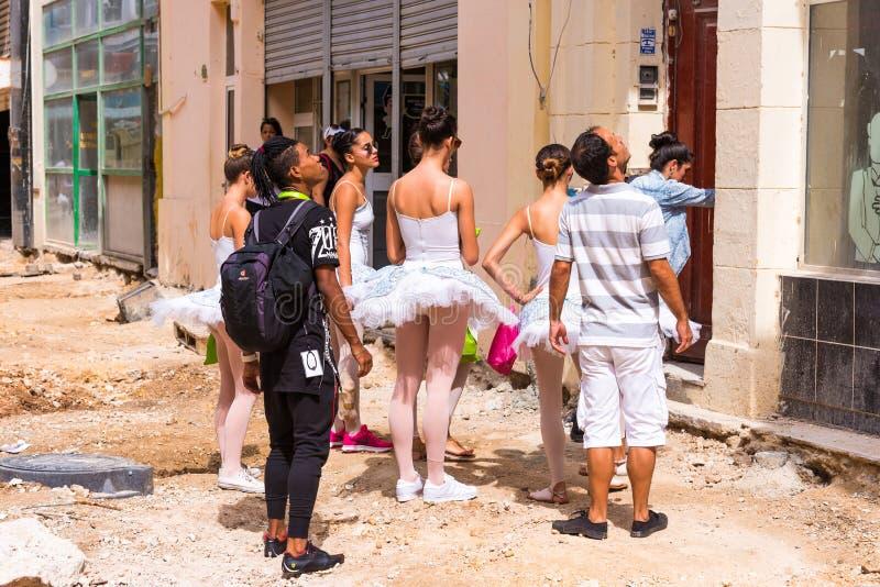 CUBA, HAVANA - MAY 5, 2017: Ballerinas in the streets of Havana. stock images