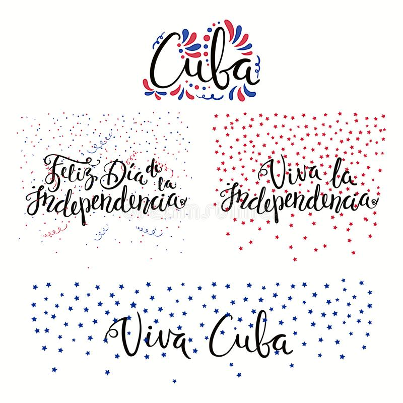 Cuba Independence Day quotes royalty free illustration