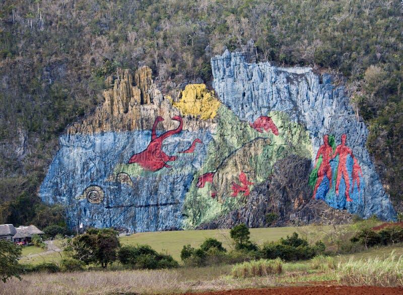 CUBA- JANUARY 28, 2013: Prehistory Wall , `Prehistoric fresco`, Murale art painted on rocks in Vinales Valley. CUBA- JANUARY 28, 2013: Prehistory Wall , ` royalty free stock photography