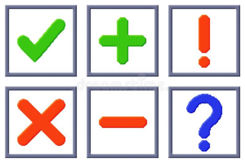 Cuba l'insieme di immagini dei segni del pixel illustrazione di stock
