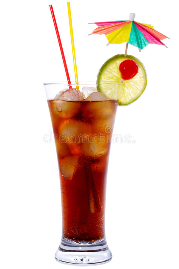 Cuba Libre. Cocktail isolated on white stock photo