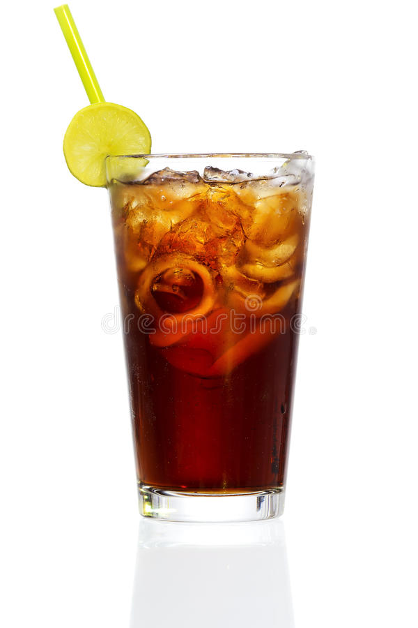Cuba Libre. Stock image of Cuba Libre Cocktail over white background. Find more cocktail and prepared drinks images on my portfolio stock images