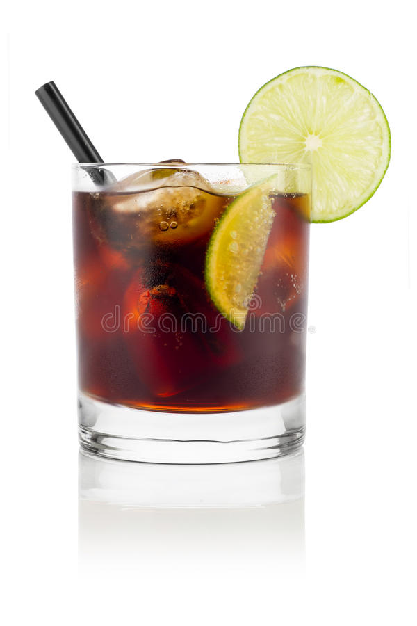 Cuba libre. Long drink cuba libre in front of white background royalty free stock photography