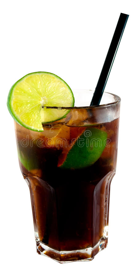 Cuba Libre cocktail. In white background stock images