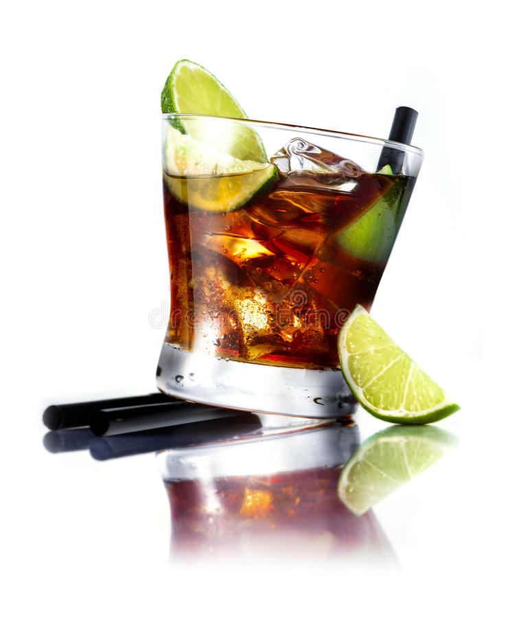 Cuba Libre Cocktail. With rum and fresh lime isolated on white background, for drink concepts royalty free stock photo