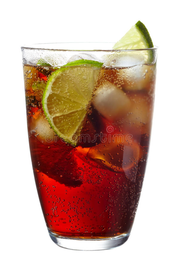 Cuba Libre cocktail. With lime isolated on white background stock photos